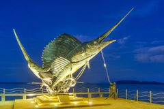 Les espadons sculptent orner la plage dans ao Nang Image stock