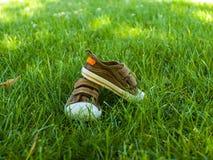 Les espadrilles de bébé sont sur l'herbe Images stock