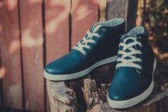 Les espadrilles des hommes en cuir, espadrilles bleues Photographie stock libre de droits