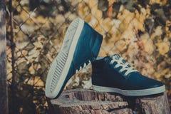 Les espadrilles des hommes en cuir, espadrilles bleues Photo libre de droits