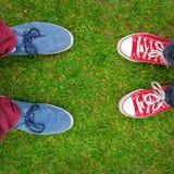Les espadrilles rouges et bleues chausse la marche sur la vue supérieure d'herbe Image stock