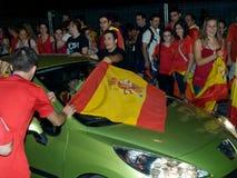 Les Espagnols célébrant la victoire de Worldcup Photographie stock libre de droits