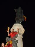 Les Espagnols célébrant la victoire de Worldcup Photos stock