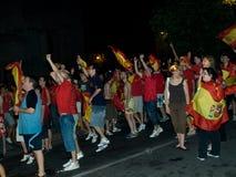 Les Espagnols célébrant la victoire de Worldcup Photo libre de droits