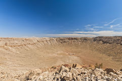 Les Etats-Unis, Arizona, cratère de météore près de hampe de drapeaux Images stock