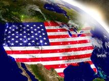 Les Etats-Unis avec le drapeau en Soleil Levant illustration libre de droits
