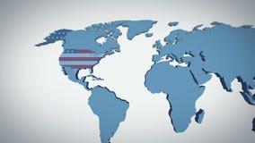 Les Etats-Unis bourdonnent sur la carte illustration de vecteur