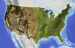 Les Etats-Unis, carte d'allégement Photographie stock libre de droits