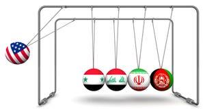 Les Etats-Unis comme facteur de déstabilisation dans la géopolitique Le concept Image stock
