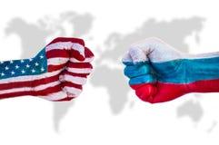 Les Etats-Unis contre la Russie Images libres de droits
