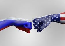 Les Etats-Unis contre la Russie photos libres de droits