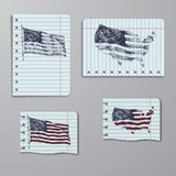 Les Etats-Unis d'Amérique, Etats-Unis, drapeau Carte des Etats-Unis Illustration tirée par la main dans le carnet illustration libre de droits