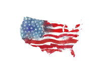 Les Etats-Unis d'Amérique Texture d'aquarelle de drapeau américain U Photos stock