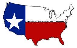 Les Etats-Unis de Texas Flag dans la carte Photographie stock