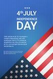 Les Etats-Unis diminuent avec copie l'espace Jour de la Déclaration d'Indépendance des vacances la bannière du 4 juillet illustration de vecteur