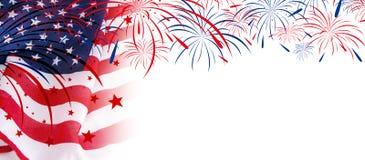 Les Etats-Unis diminuent avec des feux d'artifice sur le fond blanc illustration de vecteur