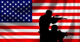 Les Etats-Unis diminuent avec le soldat illustration de vecteur
