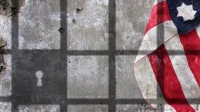 Les Etats-Unis diminuent sous des barres de prison photographie stock libre de droits