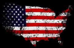 Les Etats-Unis diminuent sous forme de cartes des Etats-Unis Photographie stock