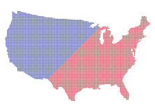 Les Etats-Unis Dot Map Red And Blue Photo stock