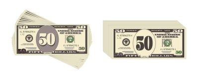 Les Etats-Unis encaissant la devise, symbole d'argent liquide 50 billet d'un dollar Photos stock