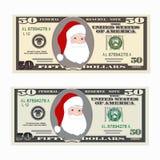 Les Etats-Unis encaissant la devise, symbole d'argent liquide 50 billet d'un dollar avec Santa Claus Photographie stock