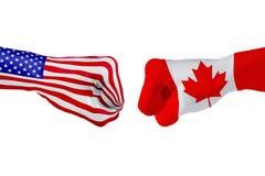 Les Etats-Unis et drapeau de Canada Combat de concept, concurrence d'affaires, conflit ou manifestations sportives photo libre de droits