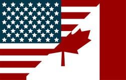 Les Etats-Unis et drapeaux de Canada Drapeaux dans le style plat illustration stock