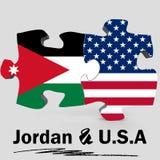 Les Etats-Unis et drapeaux de la Jordanie dans le puzzle Photo stock