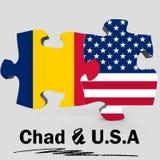 Les Etats-Unis et drapeaux du Tchad dans le puzzle Photographie stock