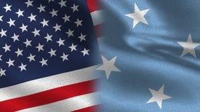 Les Etats-Unis et drapeaux réalistes de la Micronésie demi ensemble illustration stock