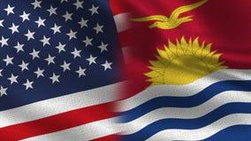 Les Etats-Unis et drapeaux réalistes du Kiribati demi ensemble illustration libre de droits