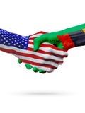 Les Etats-Unis et la Zambie, coopération de concept de drapeaux, affaires, compétition sportive Photographie stock