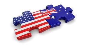 Les Etats-Unis et puzzle d'Australie des drapeaux Photographie stock