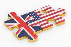 Les Etats-Unis et puzzles BRITANNIQUES des drapeaux, concept de relation rendu 3d Images stock