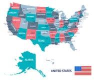 Les Etats-Unis - illustration de carte et de drapeau illustration de vecteur