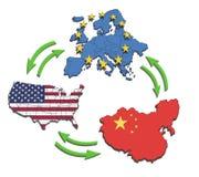 Les Etats-Unis, l'Europe et la Chine Interatction. Photo libre de droits