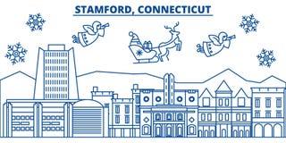 Les Etats-Unis, le Connecticut, horizon de ville d'hiver de Stamford Le Joyeux Noël et la bonne année ont décoré la bannière salu illustration libre de droits