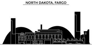 Les Etats-Unis, le Dakota du Nord, horizon de ville de vecteur d'architecture de Fargo, paysage urbain de voyage avec des points  Photographie stock libre de droits