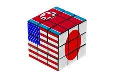 Les Etats-Unis, le Japon et la Corée du Nord marquent la forme de puzzle photo stock