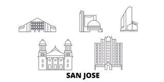 Les Etats-Unis, ligne ensemble de San Jos? d'horizon de voyage Les Etats-Unis, illustration de vecteur de ville d'ensemble de San illustration de vecteur