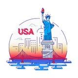 Les Etats-Unis - ligne moderne illustration de vecteur de voyage illustration de vecteur