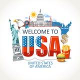 Les Etats-Unis marquant avec des lettres le point de repère de culture de symboles de vues pour imprimer illustration de vecteur