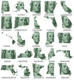 Les Etats-Unis marquent des cartes d'A à M Images stock