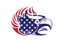 Les Etats-Unis marquent le logo patriotique d'Eagle Bald Hawk Head Vector Photos stock
