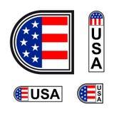 Les Etats-Unis marquent le symbole minimalistic d'insigne illustration de vecteur