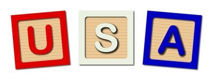 Les Etats-Unis ont isolé les blocs en bois Image stock