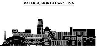 Les Etats-Unis, Raleigh, horizon de ville de vecteur d'architecture de la Caroline du Nord Images libres de droits