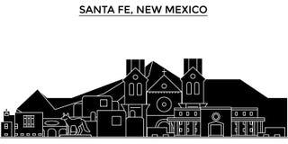 Les Etats-Unis, Santa Fe, horizon de ville de vecteur d'architecture du Nouveau Mexique, paysage urbain de voyage avec des points illustration de vecteur