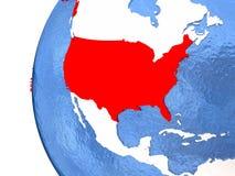 Les Etats-Unis sur le globe Photos stock